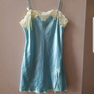 Victoria Secret spring green lace aqua slip nighty
